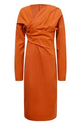 Женское кожаное платье BOTTEGA VENETA оранжевого цвета, арт. 610223/VKK40 | Фото 1