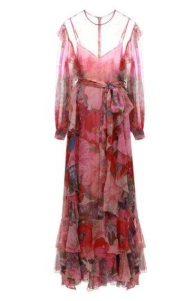Женское шелковое платье VALENTINO розового цвета, арт. TB3VDAC55AW   Фото 1 (Рукава: Длинные; Материал внешний: Шелк; Материал подклада: Вискоза; Длина Ж (юбки, платья, шорты): Макси; Случай: Вечерний)