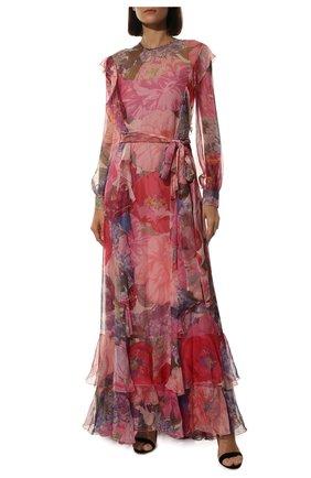 Женское шелковое платье VALENTINO розового цвета, арт. TB3VDAC55AW   Фото 2 (Рукава: Длинные; Материал внешний: Шелк; Материал подклада: Вискоза; Длина Ж (юбки, платья, шорты): Макси; Случай: Вечерний)