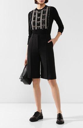 Женские шорты из смеси шерсти и шелка VALENTINO черного цвета, арт. TB3RD0551CF | Фото 2