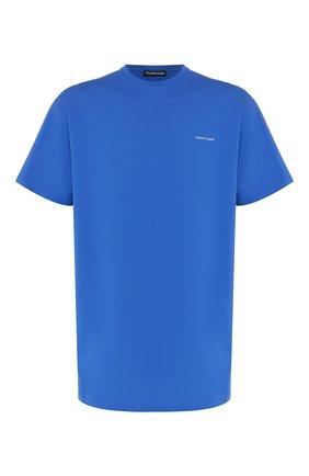 Мужская хлопковая футболка BALENCIAGA синего цвета, арт. 556150/TBV43 | Фото 1