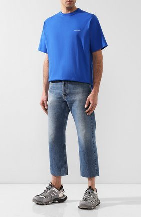 Мужская хлопковая футболка BALENCIAGA синего цвета, арт. 556150/TBV43 | Фото 2