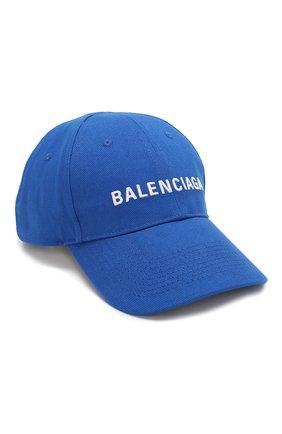 Мужской хлопковая бейсболка BALENCIAGA синего цвета, арт. 590758/410B2 | Фото 1