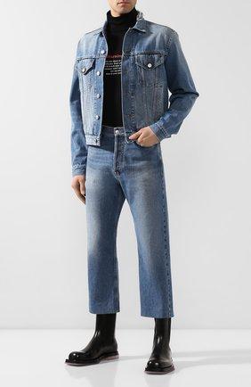 Мужские укороченные джинсы BALENCIAGA синего цвета, арт. 594609/TDW14 | Фото 2