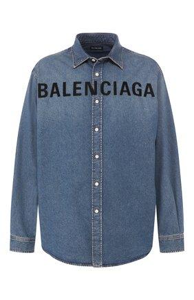Мужская джинсовая рубашка BALENCIAGA синего цвета, арт. 600280/TYE24 | Фото 1