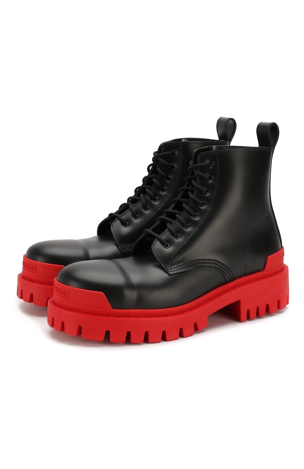 Мужские кожаные ботинки strike BALENCIAGA черного цвета, арт. 589338/WA967   Фото 1 (Каблук высота: Высокий; Мужское Кросс-КТ: Ботинки-обувь; Материал внутренний: Натуральная кожа; Подошва: Массивная)