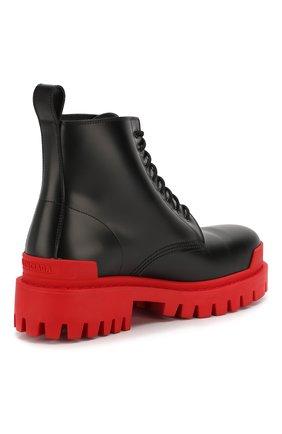 Мужские кожаные ботинки strike BALENCIAGA черного цвета, арт. 589338/WA967   Фото 4 (Каблук высота: Высокий; Мужское Кросс-КТ: Ботинки-обувь; Материал внутренний: Натуральная кожа; Подошва: Массивная)