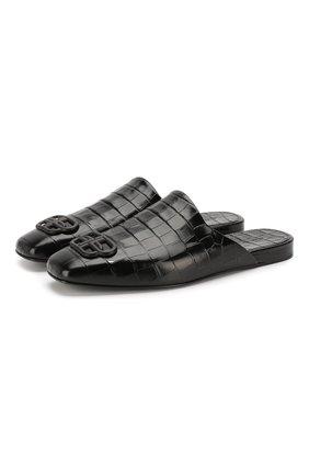 Мужские кожаные сабо cosy BALENCIAGA черного цвета, арт. 601190/WA9D4 | Фото 1