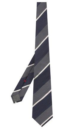 Мужской шелковый галстук BRUNELLO CUCINELLI синего цвета, арт. MQ8330018 | Фото 2