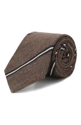 Мужской галстук из смеси хлопка и шелка BRUNELLO CUCINELLI коричневого цвета, арт. MQ8340018 | Фото 1
