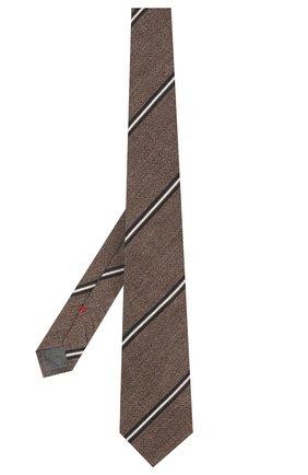 Мужской галстук из смеси хлопка и шелка BRUNELLO CUCINELLI коричневого цвета, арт. MQ8340018 | Фото 2
