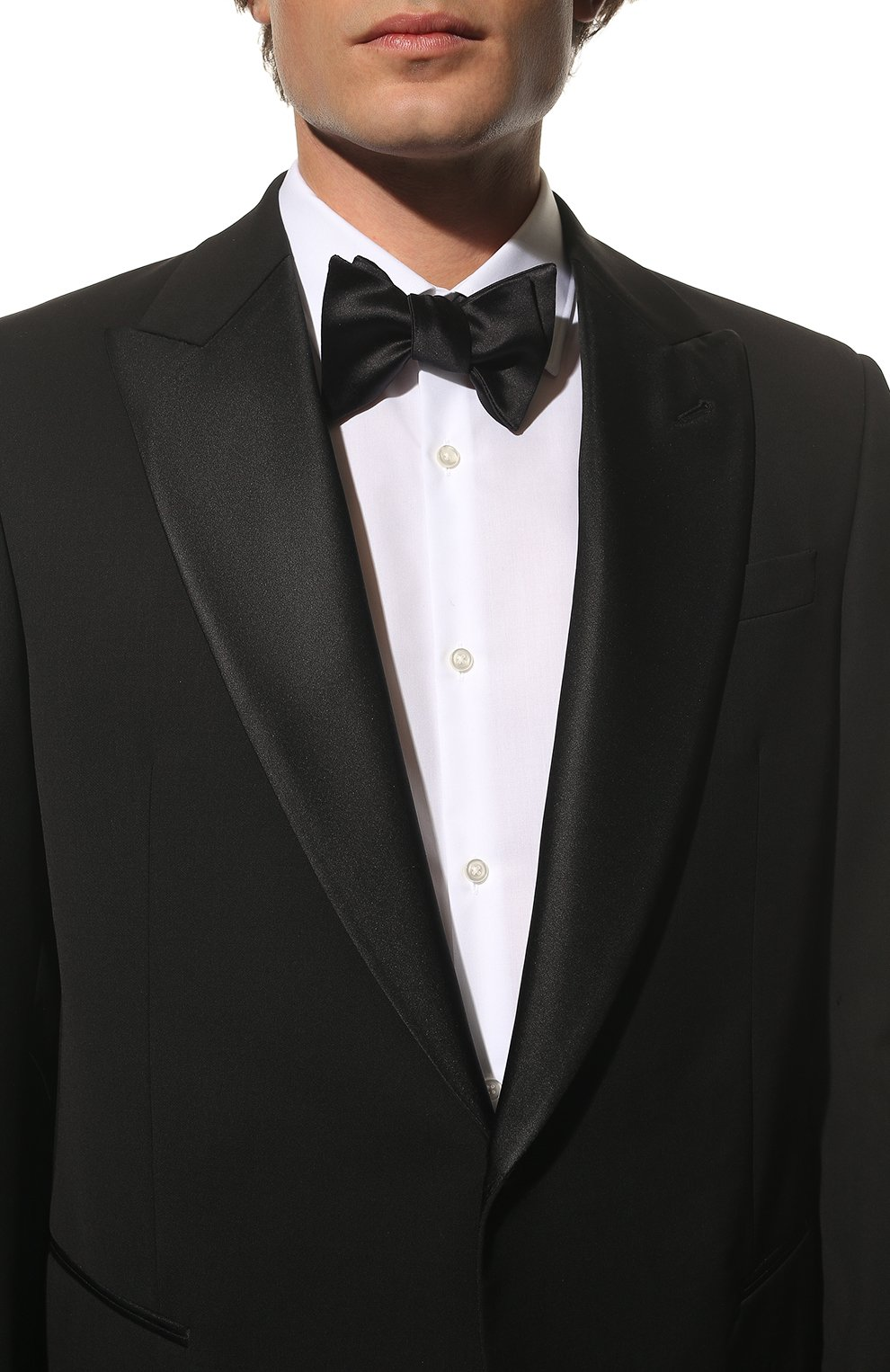 Мужской галстук-бабочка из хлопка и шелка BRUNELLO CUCINELLI темно-синего цвета, арт. MR8130003 | Фото 2