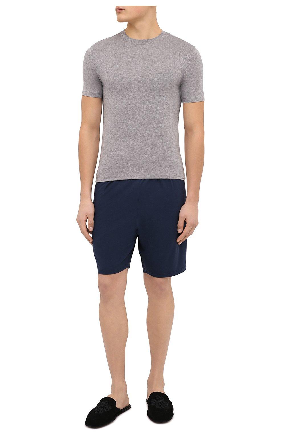 Мужские домашние шорты DEREK ROSE синего цвета, арт. 3559-BASE001 | Фото 2 (Кросс-КТ: домашняя одежда; Материал внешний: Синтетический материал)
