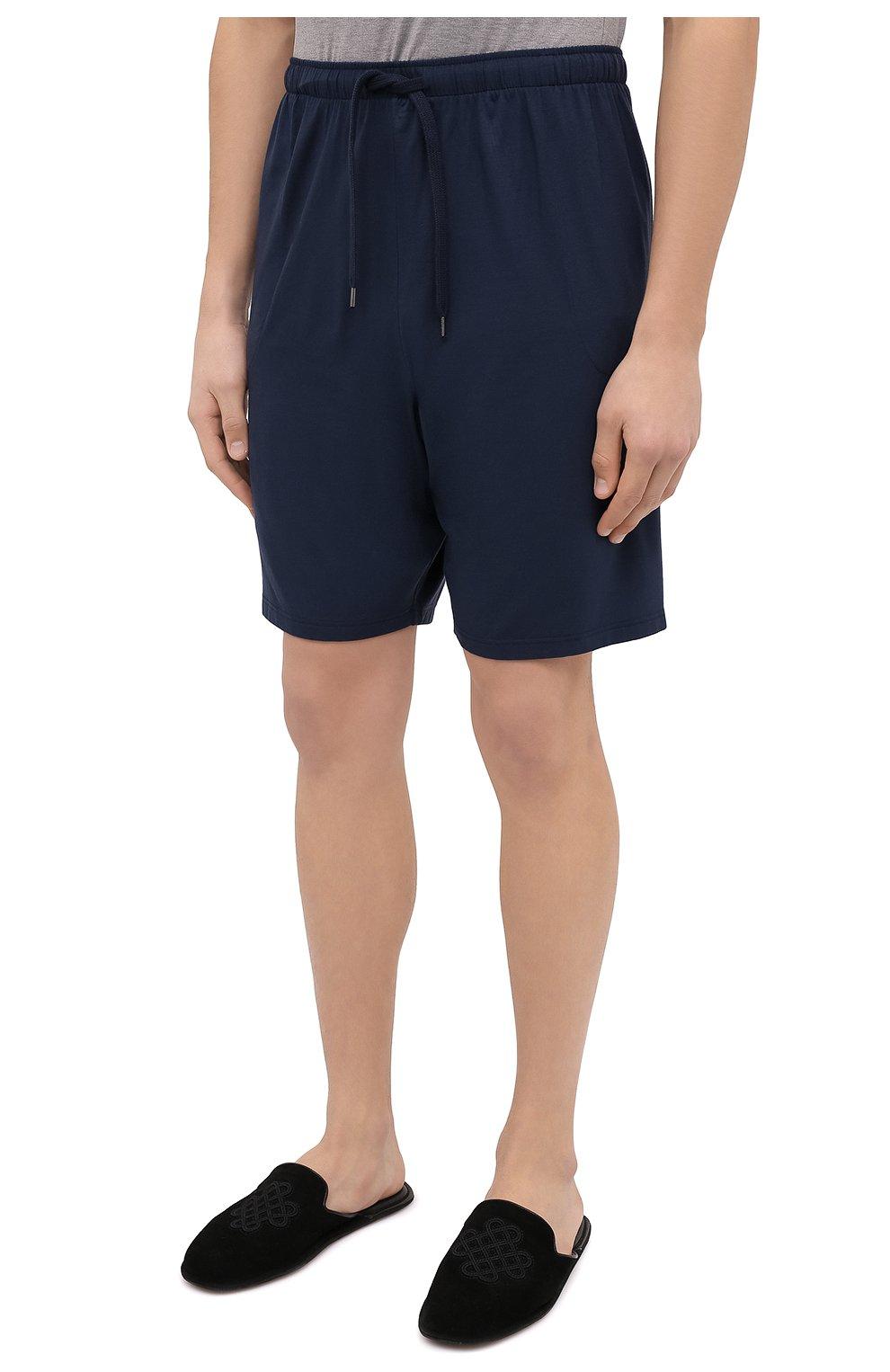 Мужские домашние шорты DEREK ROSE синего цвета, арт. 3559-BASE001 | Фото 3 (Кросс-КТ: домашняя одежда; Материал внешний: Синтетический материал)