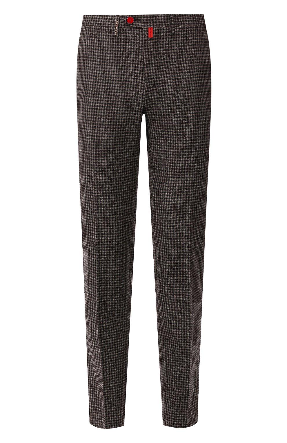 Мужские шерстяные брюки KITON коричневого цвета, арт. UFPP79K01S29   Фото 1