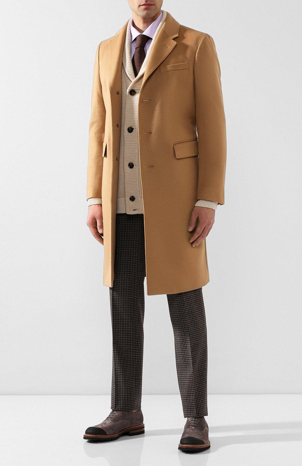 Мужские шерстяные брюки KITON коричневого цвета, арт. UFPP79K01S29   Фото 2