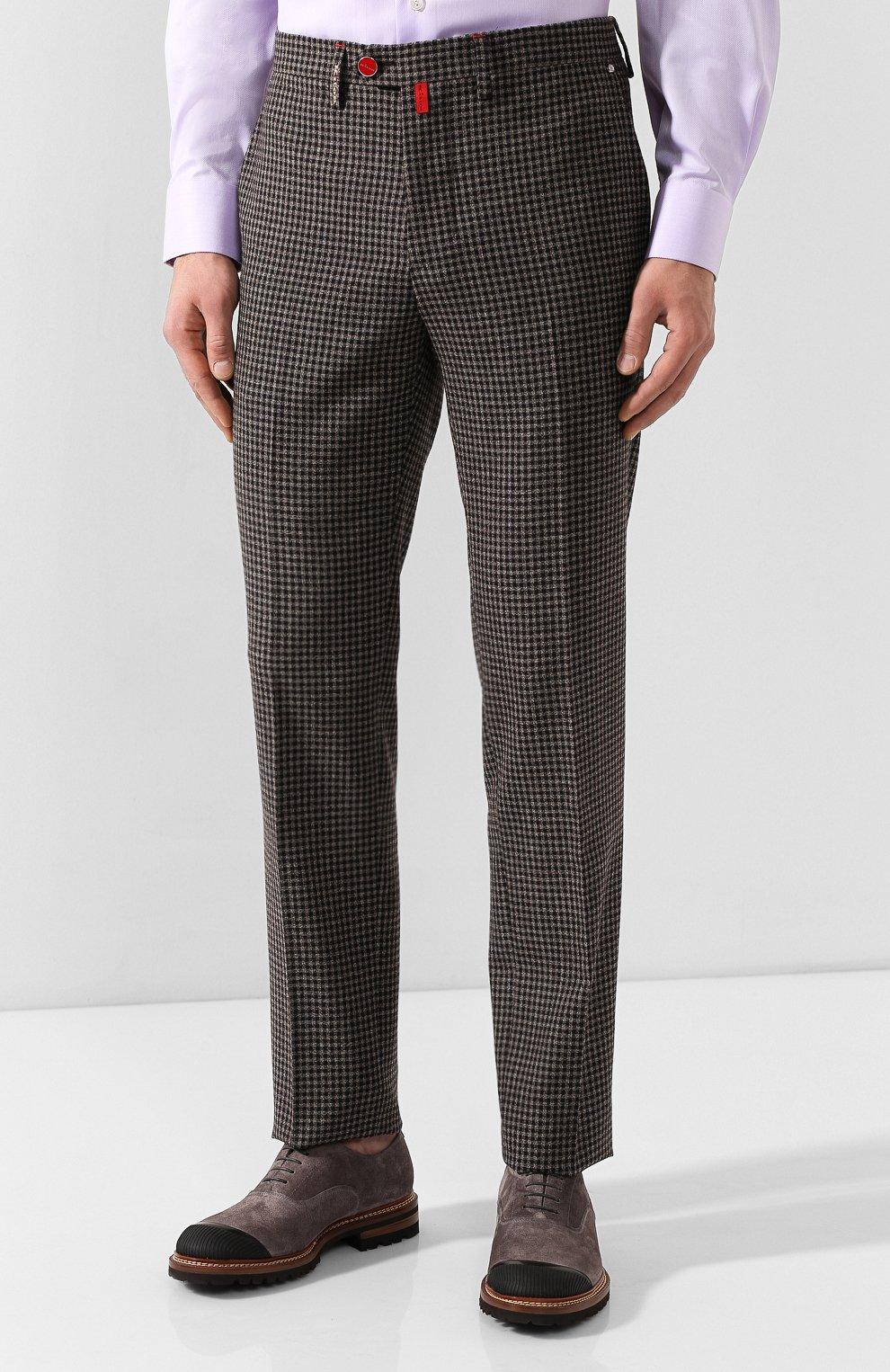 Мужские шерстяные брюки KITON коричневого цвета, арт. UFPP79K01S29   Фото 3