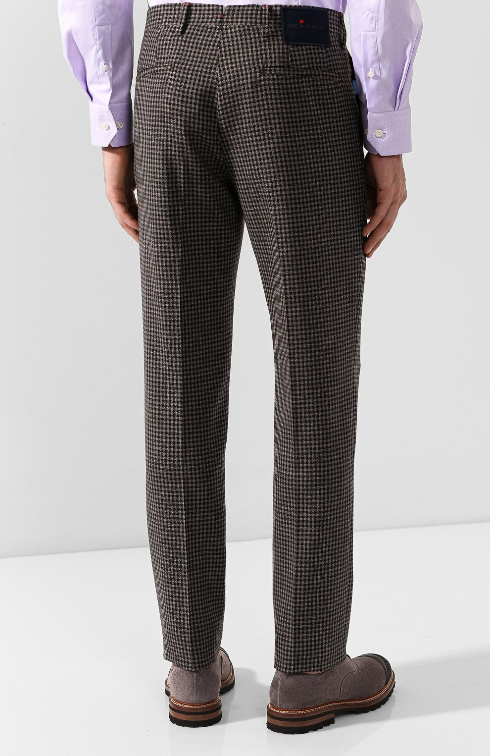Мужские шерстяные брюки KITON коричневого цвета, арт. UFPP79K01S29   Фото 4