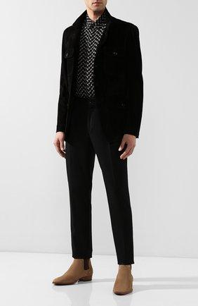Мужская шелковая рубашка SAINT LAURENT черного цвета, арт. 564172/Y272V | Фото 2