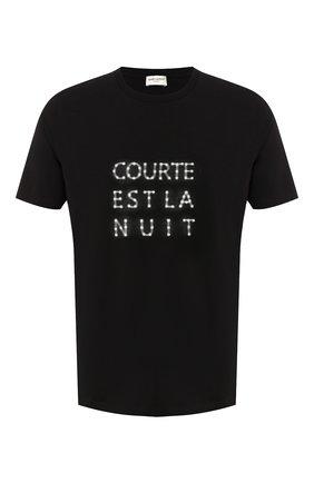 Мужская хлопковая футболка SAINT LAURENT черно-белого цвета, арт. 577123/YBJQ2 | Фото 1