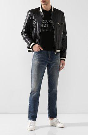 Мужская хлопковая футболка SAINT LAURENT черно-белого цвета, арт. 577123/YBJQ2 | Фото 2