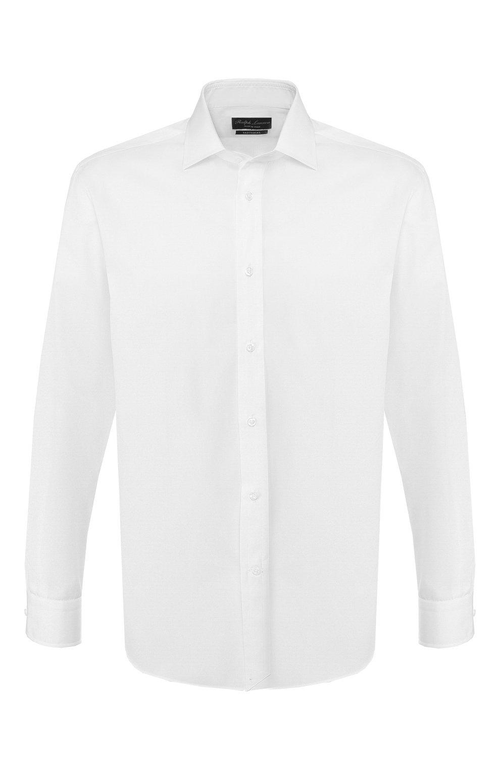 Мужская хлопковая сорочка RALPH LAUREN белого цвета, арт. 791530486   Фото 1