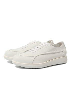 Мужские кожаные кроссовки GIORGIO ARMANI белого цвета, арт. X2C526/XF224 | Фото 1