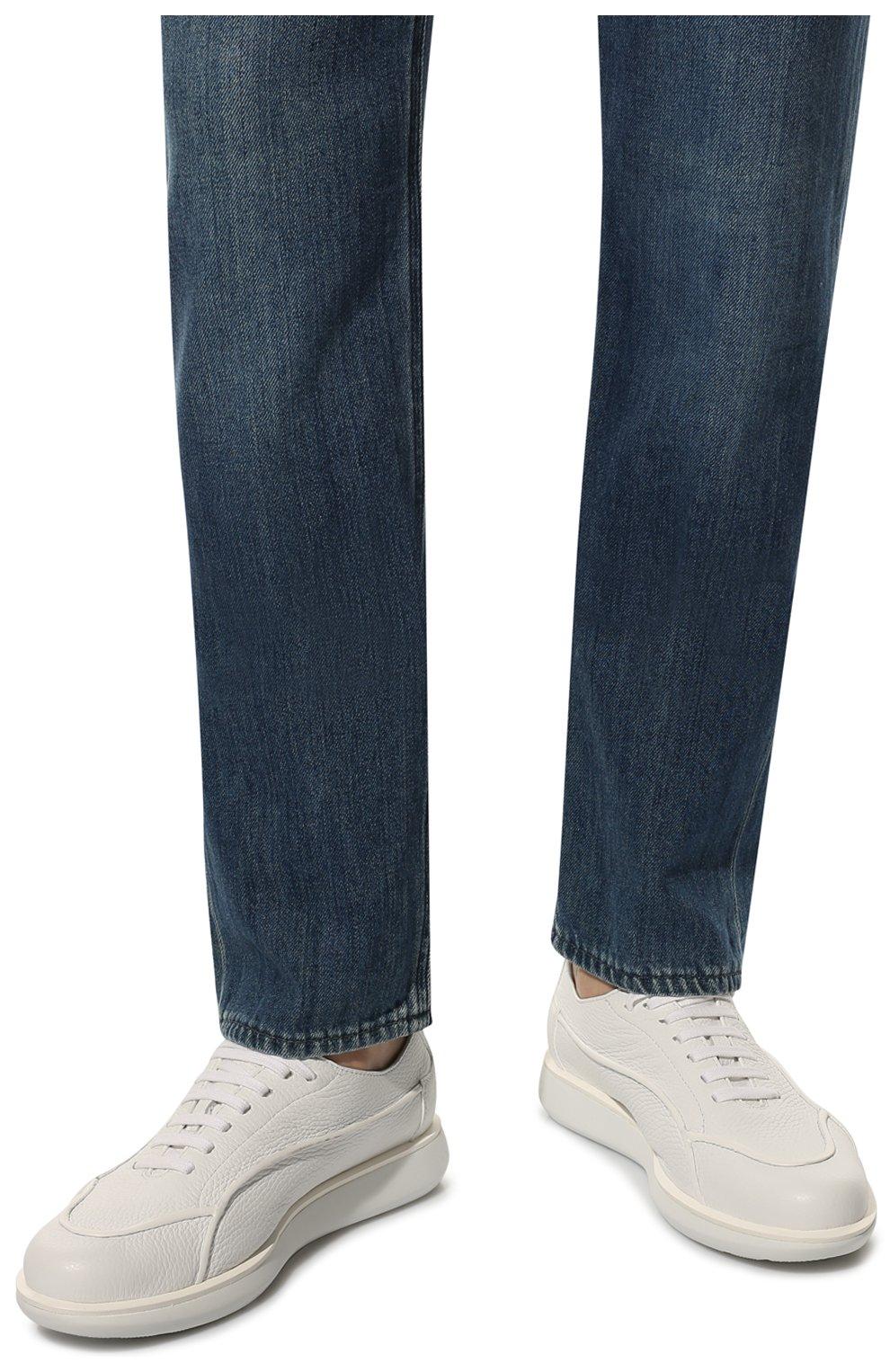 Мужские кожаные кроссовки GIORGIO ARMANI белого цвета, арт. X2C526/XF224 | Фото 3