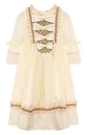 Детское шелковое платье GUCCI белого цвета, арт. 570945/ZB644 | Фото 1