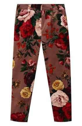 Детского хлопковые брюки DOLCE & GABBANA розового цвета, арт. L52P58/FSWBS/2-6 | Фото 1