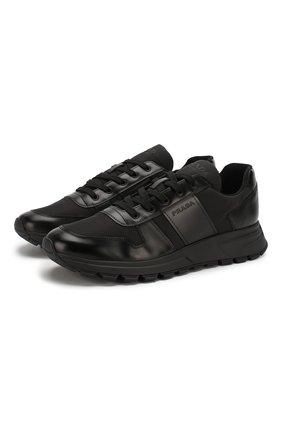 Мужские комбинированные кроссовки PRADA черного цвета, арт. 4E3463-3KYU-F0002 | Фото 1