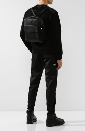 Мужской кожаный рюкзак PRADA черного цвета, арт. 2VZ040-2EYT-E24-OOO | Фото 2