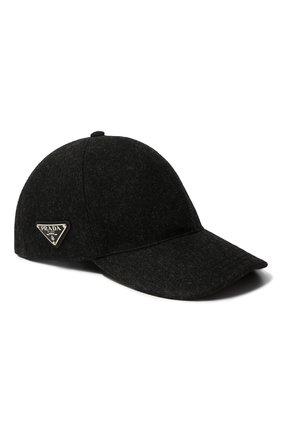 Мужской шерстяная бейсболка PRADA серого цвета, арт. 2HC274-1UMT-F0308 | Фото 1