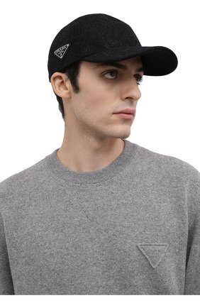 Мужской шерстяная бейсболка PRADA серого цвета, арт. 2HC274-1UMT-F0308 | Фото 2