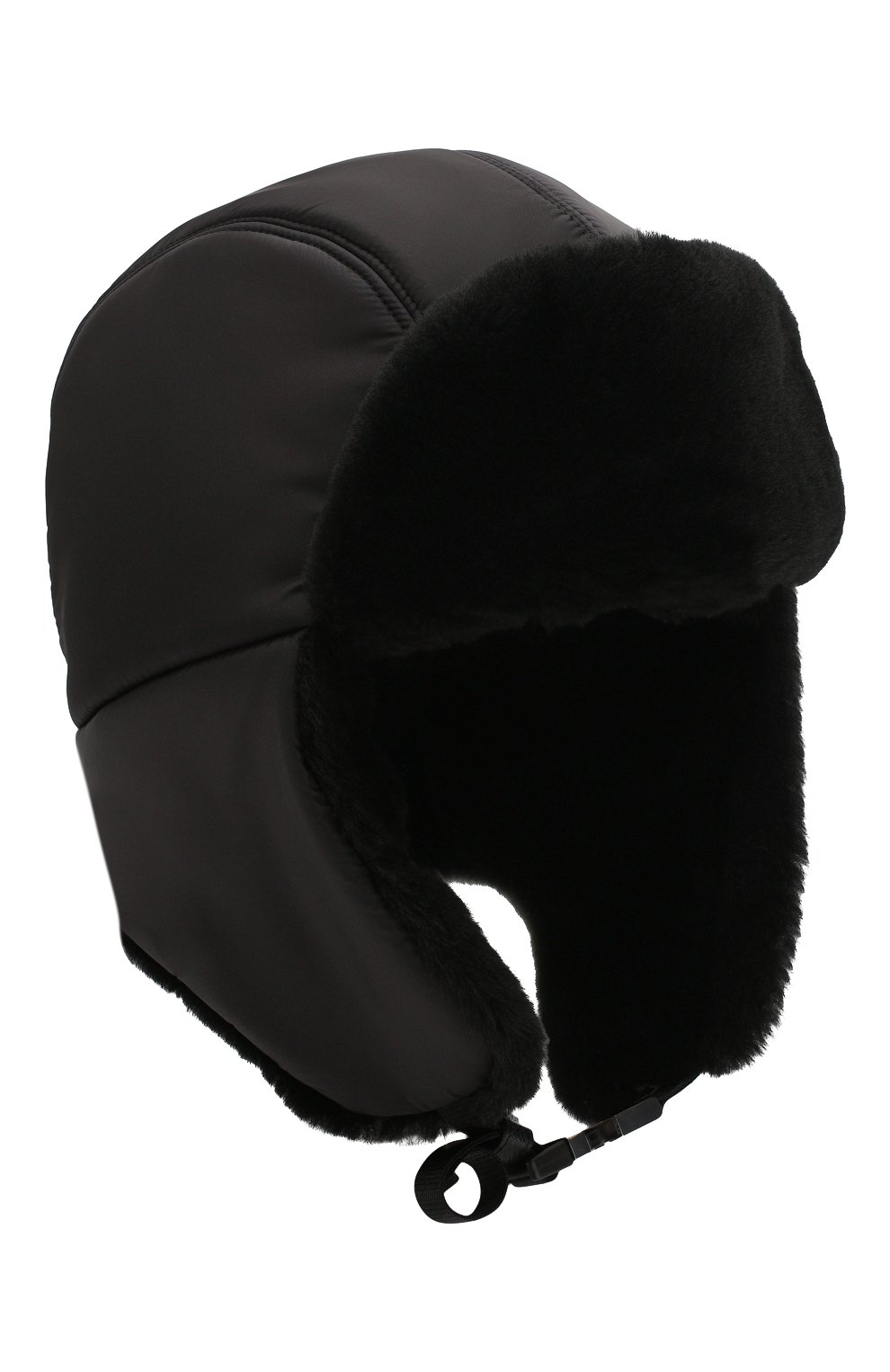 Мужская меховая шапка-ушанка PRADA черного цвета, арт. 2HC170-2CE1-F0002 | Фото 1