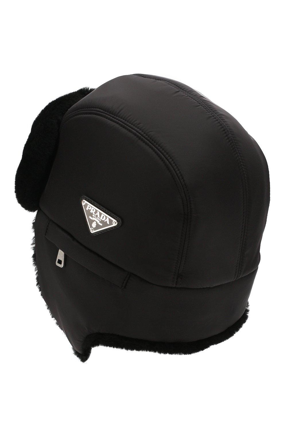 Мужская меховая шапка-ушанка PRADA черного цвета, арт. 2HC170-2CE1-F0002   Фото 2