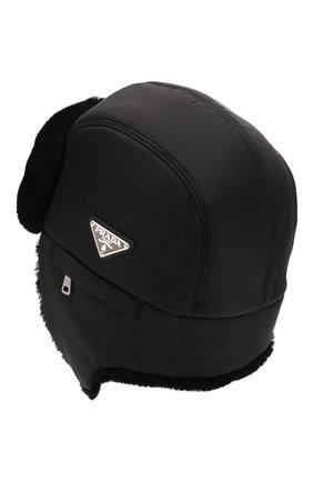 Мужская меховая шапка-ушанка PRADA черного цвета, арт. 2HC170-2CE1-F0002 | Фото 2