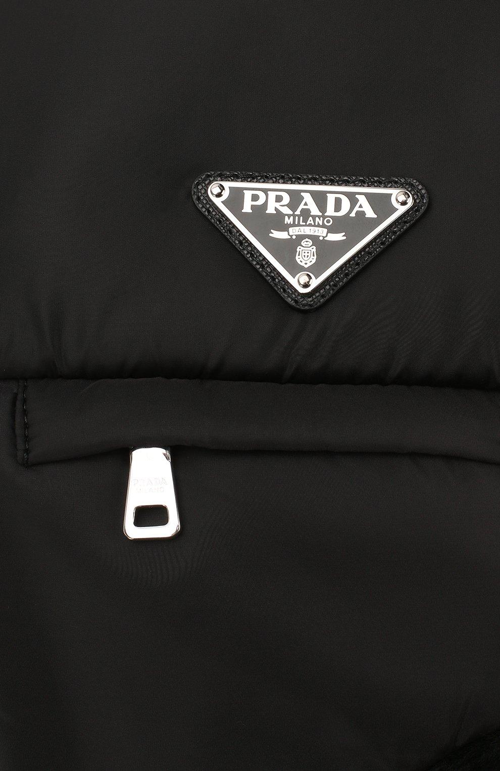 Мужская меховая шапка-ушанка PRADA черного цвета, арт. 2HC170-2CE1-F0002 | Фото 3