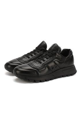 Мужские кожаные кроссовки PRADA черного цвета, арт. 4E3388-A3B-F0002 | Фото 1