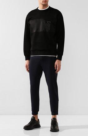 Мужские кожаные кроссовки PRADA черного цвета, арт. 4E3388-A3B-F0002 | Фото 2