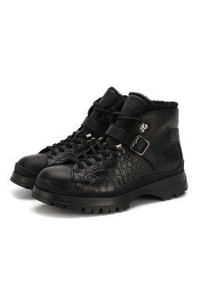 Мужские ботинки с отделкой из кожи каймана PRADA черного цвета, арт. 2TE158-3L2N-F0002 | Фото 1