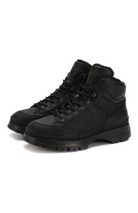 Мужские кожаные ботинки PRADA черного цвета, арт. 2TE157-3A6N-F0002 | Фото 1