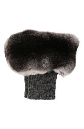 Женские манжеты из меха шиншиллы COLOR TEMPERATURE серого цвета, арт. FW18CT60 | Фото 1