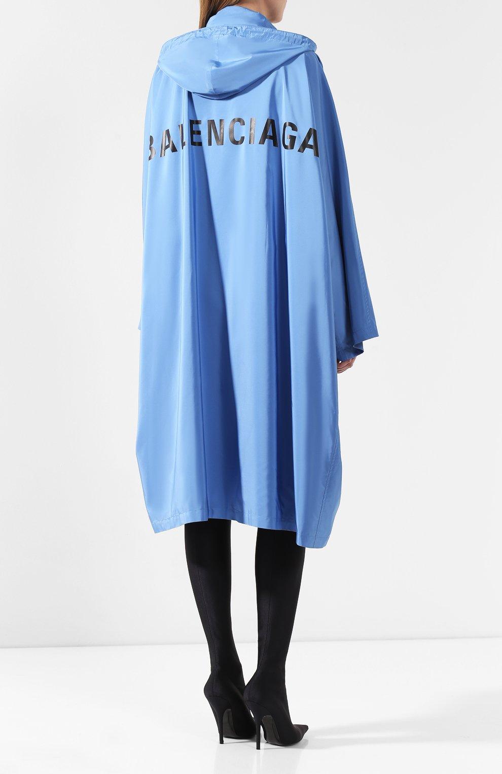 Женский плащ с капюшоном BALENCIAGA голубого цвета, арт. 571267/TYD36 | Фото 4