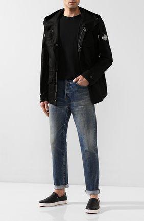 Мужские кожаные слипоны BOTTEGA VENETA черного цвета, арт. 608751/VT031 | Фото 2