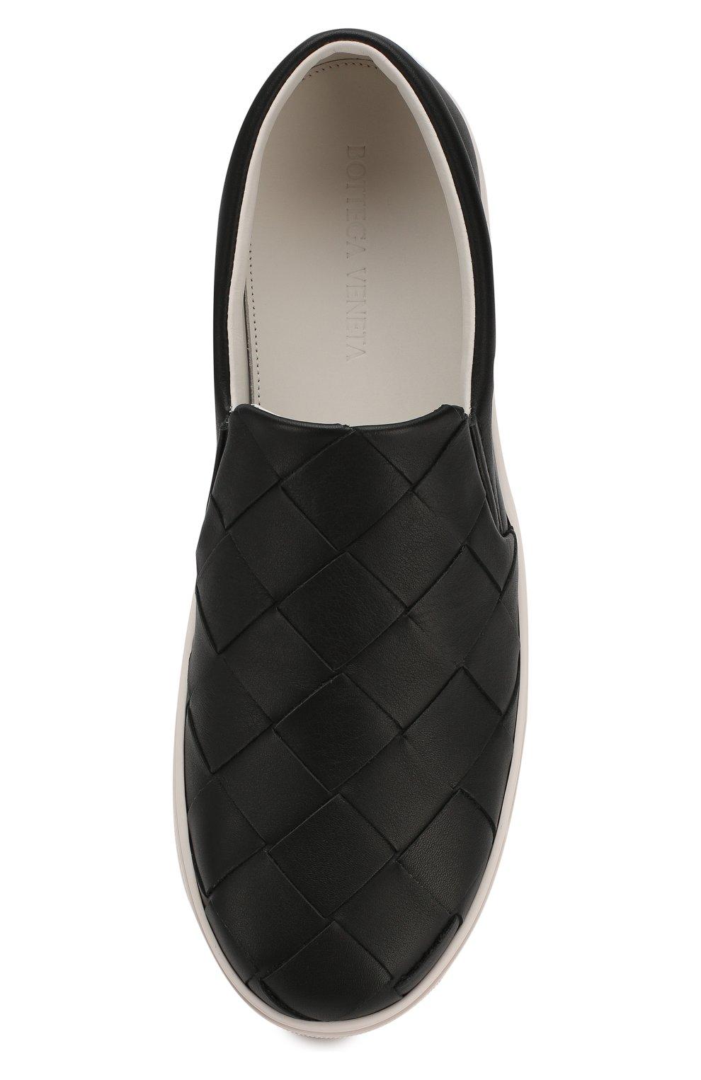 Мужские кожаные слипоны BOTTEGA VENETA черного цвета, арт. 608751/VT031 | Фото 5