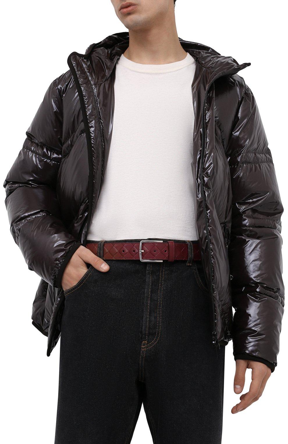 Мужской кожаный ремень BOTTEGA VENETA бордового цвета, арт. 609182/VCPQ3   Фото 2