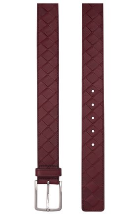 Мужской кожаный ремень BOTTEGA VENETA бордового цвета, арт. 609182/VCPQ3   Фото 3