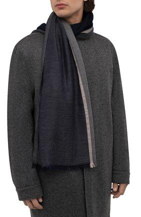 Мужской шарф из смеси кашемира и шелка BRUNELLO CUCINELLI синего цвета, арт. MSC606AV | Фото 2