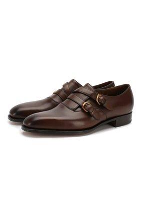 Мужские кожаные монки RALPH LAUREN темно-коричневого цвета, арт. 815748433 | Фото 1